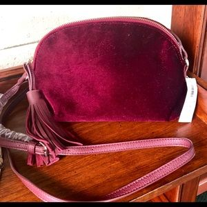 NWT- Old Navy Velvet Wine Colored Purse
